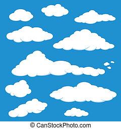 azul, vetorial, nuvem céu