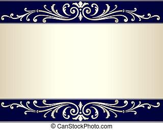 azul, vindima, scroll, experiência bege, prata