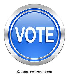 azul, voto, ícone, botão