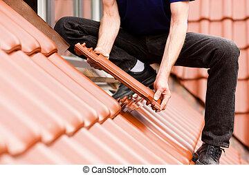 azulejo, novo, tiler, telhado, cobertura