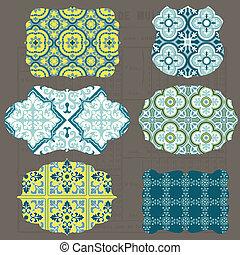 azulejos, elementos, antigas, etiquetas, vindima, -, vetorial, desenho, bordas, scrapbook