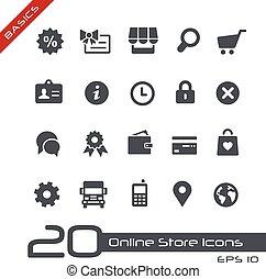 //, básico, loja online, ícones