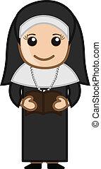 bíblia, -, freira, vetorial, leitura, caricatura