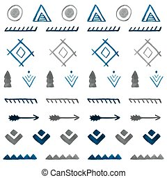 b, tribal, pattern., seamless, mão, aquarela, étnico, desenhado, abstratos