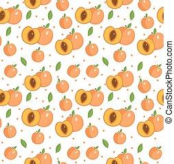 backdrop., illustration., damasco, vetorial, fundo, texture., pêssego, seamless, frutas, pattern., infinito