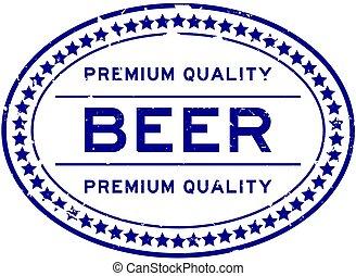 backgoround, azul, selo, qualidade, palavra, prêmio, selo, grunge, cerveja, borracha, branca, oval