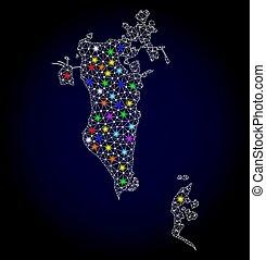 bahrain, mapa, fio, luz, quadro, manchas, luminoso, malha