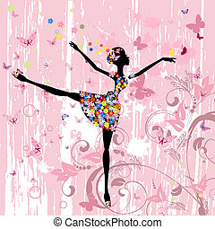 bailarina, borboletas, flores, grunge, menina