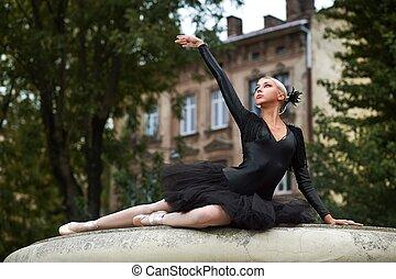 bailarina, dançar, ruas, equipamento, pretas, deslumbrante, cidade