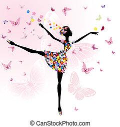 bailarina, menina, flores, borboletas