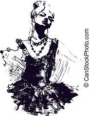 bailarino menina, ilustração
