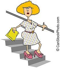 baixo, andar, mulher, escadas