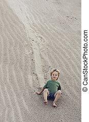 baixo, areia, vinda, mountain., criança