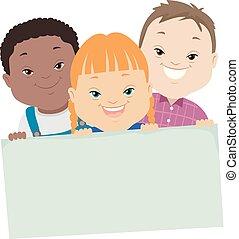 baixo, crianças, síndrome, ilustração, tábua
