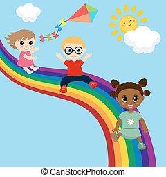baixo, escorregar, rainbow., crianças