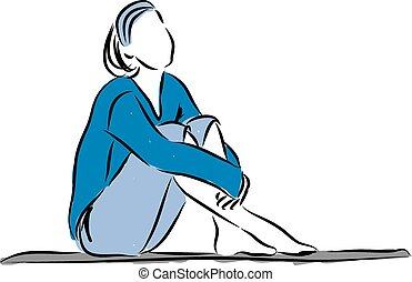 baixo, mulher, illustrati, relaxe, sentando