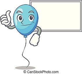 balão azul, cima, forma, aniversário, tábua, caricatura, polegares