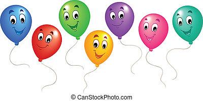 balões, 3, grupo, caricatura