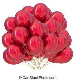 balões, decoração, partido aniversário, hélio, vermelho, grupo