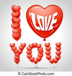 balões, forma, voando, heart., fundo