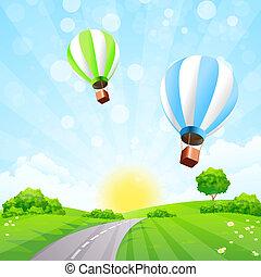 balões, paisagem verde