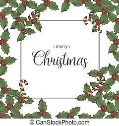 bala doce, black., holly, natal, elementos, sketch., fundo, folhas, festivo, lettering., hand-drawn