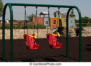 balanços, vermelho, pátio recreio