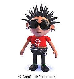 balancim punk, personagem, ficar, caricatura, pensively, 3d
