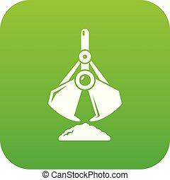 balde, vetorial, verde, escavador, ícone