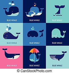 baleia, vetorial, cobrança, ícones