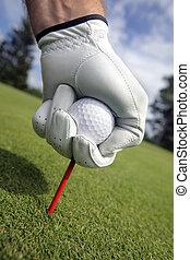 baliza golfe, colocar, bola