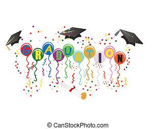ballons, graduação, ilustração, celebração
