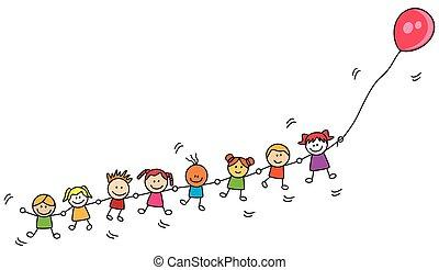 balloon, crianças, tocando