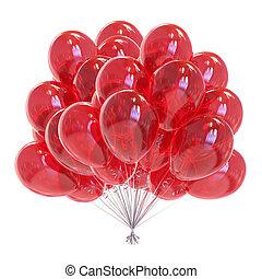 balloon, decoração, aniversário, lustroso, partido, balões, vermelho, grupo