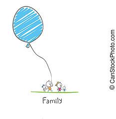 balloon, família, segurando, feliz