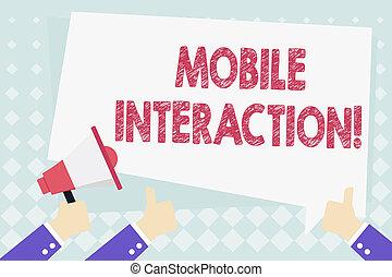 balloon., interação, usuários, computadores negócio, móvel, foto, mostrando, entre, cima, escrita, showcasing, gesticule, polegares, segurando, texto, conceitual, interaction., megafone, mão