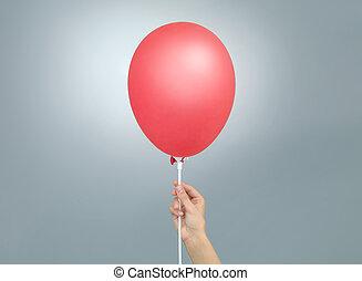 balloon, vermelho, segurando, mão feminina