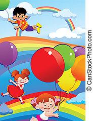 balloons., voando, crianças