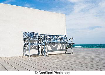 banco madeira, praia., chão