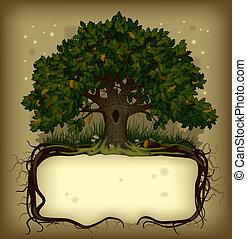 bandeira, árvore carvalho, wih