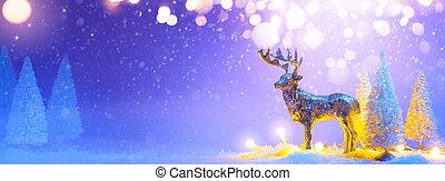 bandeira, árvore, ou, rena, saudação, natal, santas, experiência;, nevado, decoração, cartão