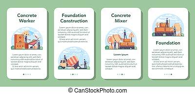 bandeira, aplicação, profissional, concreto, móvel, trabalhador, construtor, set.