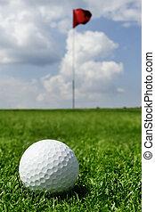 bandeira, bola, golfe