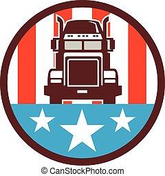 bandeira, caminhão, círculo, eua, retro