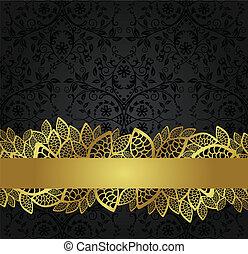 bandeira, dourado, papel parede, pretas