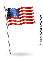 bandeira estados unida, fundo, branca, américa
