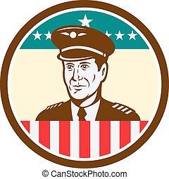 bandeira eua, retro, círculo, piloto, aviador, linha aérea
