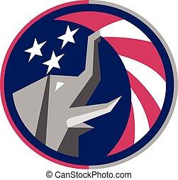 bandeira eua, retro, elefante, círculo, republicano, mascote
