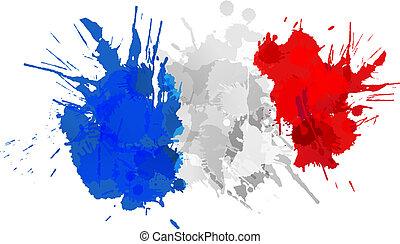 bandeira, feito, francês, coloridos, esguichos