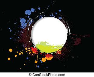 bandeira, grunge, círculo